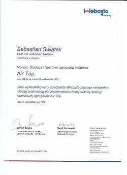 Certyfikat Autoryzacji - Webasto Air Top