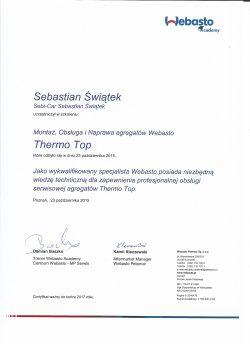 Certyfikat Autoryzacji - Webasto Thermo Top