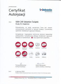 Certyfikat Autoryzacji -Ogrzewanie Webasto