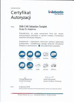 Certyfikat Autoryzacji -Klimatyzacje Webasto
